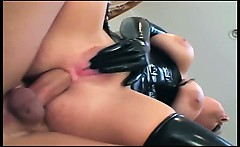Ponytailed blonde in latex gloves and stockings