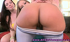 Three sexy lesbo babe spanking butts
