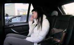 Brunette in panties fucked in fake taxi