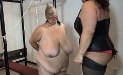 Nasty fat woman gets her body rubbed