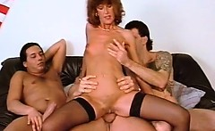 Horny slut has a great time with bunch of guys