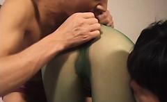 Hottie in green nylon masturbation by two bally shafts