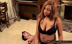 Ebony femdom uses slave as ashtray