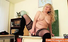 Well-endowed Wifey teacher fucks herself plus a adult toy