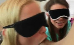 Blindfolded girls taste a big cock