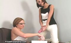 Cute female teen student shoots her big