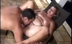 Two porky girls are getting banged and are eating cock and sperm
