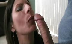 Horny brunette Stacey blows cock in a couple of scenes and loves cum