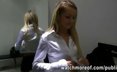 Blonde amateur babe gets fucked in the public dressing room