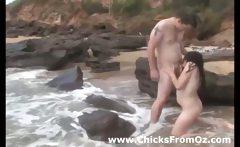 Amateur brunnette girl gets fucked on the beach
