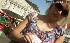 Amateur blondie Czech girl pounded in public market