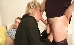 Blonde mature slut gets her pussy banged