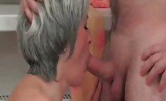 Mature slut sucks on hard cock and gets