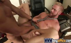 Two gay boys in the office partake of some hot anal fucking