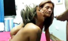 Two nasty old mature women ride guy