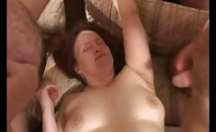 Mature amateur wife is in a gangbang and blows and gets drilled